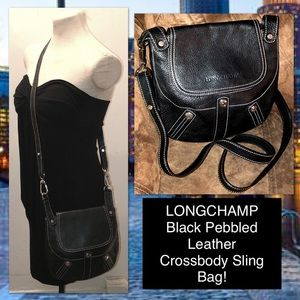 Longchamp Blk Pebbled Leather Crossbody Sling Bag!
